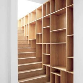 Stair & shelf lining with solid wood